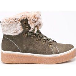 S. Oliver - Botki. Szare buty zimowe damskie S.Oliver, z materiału, na obcasie, na sznurówki. W wyprzedaży za 169,90 zł.