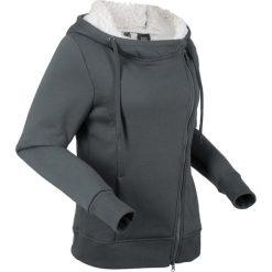 Bluza rozpinana z polaru baranka, długi rękaw bonprix antracytowy. Szare bluzy polarowe marki bonprix, z długim rękawem, długie. Za 149,99 zł.