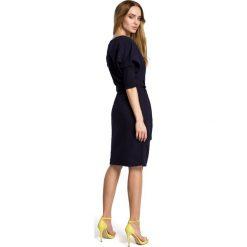PALOMA Sukienka odcinana w pasie z paskiem - granatowa. Niebieskie sukienki dzianinowe Moe, na co dzień, sportowe, ołówkowe. Za 169,90 zł.