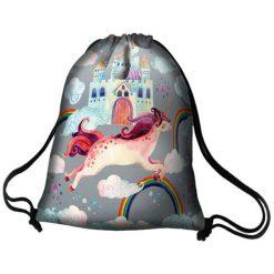 """Plecaki damskie: Plecak """"Worek"""" w kolorze szarym ze wzorem - (D)44 x (S)36 cm"""