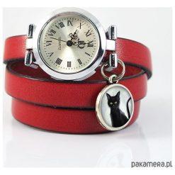 Bransoletki damskie: Zegarek, bransoletka – Czarny kot – czerwony