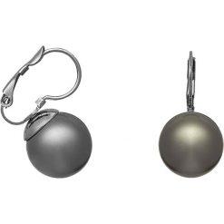 Kolczyki damskie: Kolczyki w kolorze antracytowym z perełkami syntetycznymi