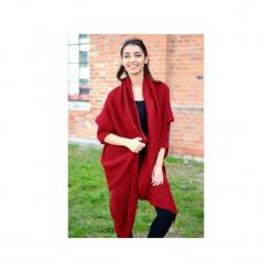 Bordowy asymetryczny sweter damski, jesienny sweter damski, długi elegancki sweter. Czerwone kardigany damskie ekoszale. Za 189,00 zł.
