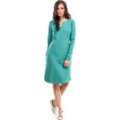 Zielona Sukienka Trapezowa z Długim Rękawem. Zielone sukienki mini marki Reserved, z wiskozy. Za 119,90 zł.