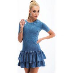 Niebieska sukienka z imitacji jeansu MIS9. Niebieskie sukienki Fasardi, l, z jeansu. Za 111,20 zł.