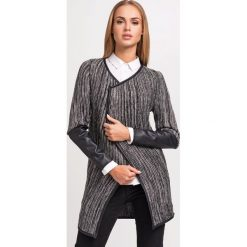 Swetry damskie: Czarny Stylowy Sweter Narzutka z Dodatkiem Eco-Skóry