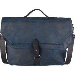 """Skórzana torba biznesowa """"Franklin"""" w kolorze granatowym - 41 x 30 x 5 cm. Niebieskie torby na ramię męskie marki Cowboys Bags & Belts, w paski, ze skóry, na ramię. W wyprzedaży za 426,95 zł."""