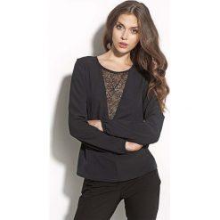 Bluzki damskie: Czarna Bluzka z Długim Rękawem z Koronkowym Zdobieniem