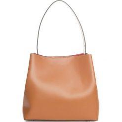 Torebki klasyczne damskie: Skórzana torebka w kolorze jasnobrązowym – 50 x 35 x 12 cm