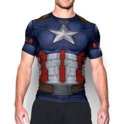 Under Armour Koszulka męska Alter Ego Transform Yourself Captain America granatowa r. XL. Szare koszulki sportowe męskie marki Under Armour, z elastanu, sportowe. Za 158,26 zł.