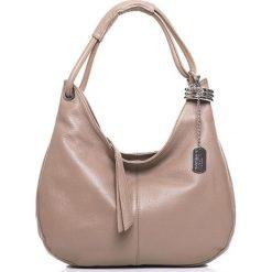 Torebki klasyczne damskie: Skórzana torebka w kolorze szarobrązowym – 38 x 34 x 10 cm