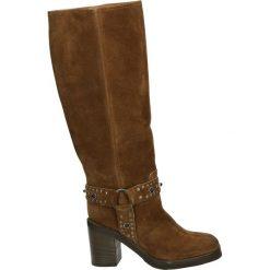 Kozaki - 003C CAM CUOI. Brązowe buty zimowe damskie marki Kazar, ze skóry, przed kolano, na wysokim obcasie. Za 799,00 zł.