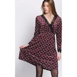 Bordowa Sukienka Unmistakable. Czerwone sukienki dzianinowe marki Born2be, uniwersalny, midi, rozkloszowane. Za 99,99 zł.