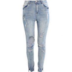 Missguided SINNER HIGHWAISTED RIPPED SKINNY Jeansy Slim Fit blue. Niebieskie jeansy damskie Missguided. W wyprzedaży za 151,20 zł.