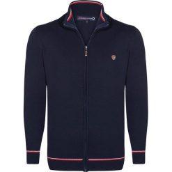 Sweter rozpinany w kolorze granatowo-czerwonym. Czerwone golfy męskie marki Giorgio di Mare, m, z aplikacjami, ze stójką. W wyprzedaży za 217,95 zł.