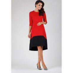 Czerwona Wyjściowa Asymetryczna Sukienka z Kontrastowym Dołem. Czerwone sukienki asymetryczne marki Molly.pl, na imprezę, l, wizytowe, z asymetrycznym kołnierzem, z krótkim rękawem, midi. W wyprzedaży za 124,53 zł.