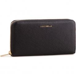 Duży Portfel Damski COCCINELLE - DW5 Metallic Soft E2 DW5 11 04 01 Noir 001. Czarne portfele damskie marki Coccinelle. Za 599,90 zł.