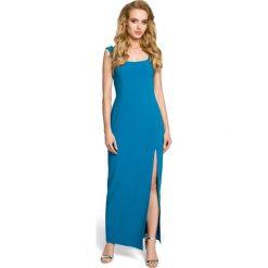 MARY Sukienka maksi z rozcięciem na boku - turkusowa. Niebieskie sukienki na komunię Moe, z dekoltem na plecach, bez rękawów. Za 179,90 zł.