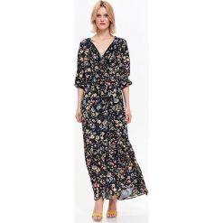 SUKIENKA DAMSKA W KWIATY. Szare długie sukienki Top Secret, na jesień, w kwiaty, z długim rękawem. Za 124,99 zł.