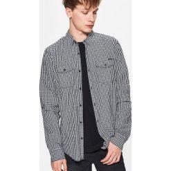Koszule męskie: Koszula w drobną kratę – Jasny szary