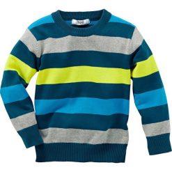 Sweter dzianinowy bonprix niebieskozielony morski w paski. Niebieskie swetry chłopięce marki bonprix, m, w kolorowe wzory, z dzianiny. Za 49,99 zł.