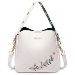 Kuferki damskie: Biały kuferek kwiat