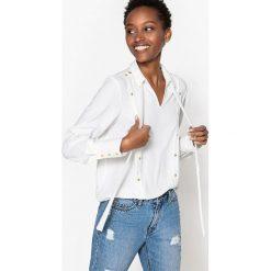 Bluzki asymetryczne: Gładka bluzka z długimi rękawami i ozdobnym wiązaniem pod szyją