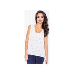 Bluzka M253 Ecru. Brązowe bluzki damskie marki FIGL, m, z dekoltem w serek, na ramiączkach. Za 99,00 zł.