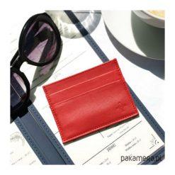 Portfel skórzany na karty płatnicze. Czerwone portfele damskie Pakamera, z materiału. Za 150,00 zł.