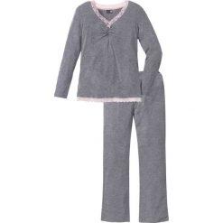 Piżamy damskie: Piżama z długimi spodniami z poszerzanymi nogawkami bonprix szary melanż