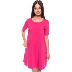 Sukienki hiszpanki: Różowa trapezowa sukienka BIALCON