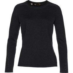 Sweter z połyskującymi kamieniami bonprix antracytowy melanż. Szare swetry klasyczne damskie bonprix. Za 74,99 zł.