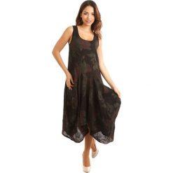 Sukienki: Lniana sukienka w kolorze czarno-czerwono-zielonym