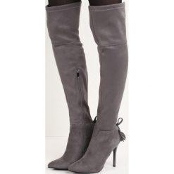 Szare Kozaki Rasheeda. Czarne buty zimowe damskie marki Kazar, ze skóry, przed kolano, na wysokim obcasie, na obcasie. Za 119,99 zł.