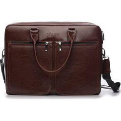 Męska torba ze skóry na ramię, laptopa ROYAL brązowy. Brązowe torby na ramię męskie Solier, w paski, z bawełny. Za 529,00 zł.