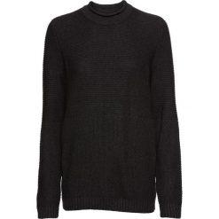 Sweter w strukturalny wzór bonprix antracytowy. Szare swetry klasyczne damskie bonprix, z okrągłym kołnierzem. Za 89,99 zł.