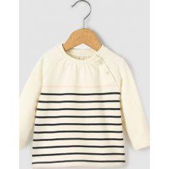 Bluza w paski 1-36 m-cy Oeko-Tex. Szare bluzy dziewczęce rozpinane marki La Redoute Collections, w paski, z bawełny, z długim rękawem, długie. Za 52,88 zł.