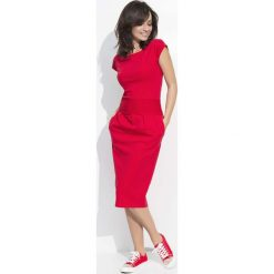 Czerwona Sukienka Bombka Midi z Rękawkiem. Czerwone sukienki koktajlowe marki Molly.pl, na co dzień, l, z bawełny, midi, bombki. Za 92,90 zł.