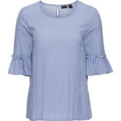 Bluzki damskie: Bluzka w paski z rozkloszowanymi rękawami bonprix jasnoniebiesko-biały w paski