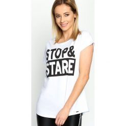 T-shirty damskie: Biały T-shirt Stop&Stare