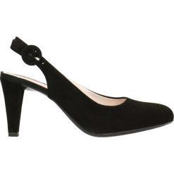 Czółenka FRIDA. Czarne buty ślubne damskie Gino Rossi, w paski, ze skóry, na słupku. Za 149,90 zł.