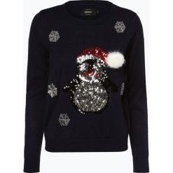 ONLY - Sweter damski – OnlX-Mas Penguin, niebieski. Czarne swetry klasyczne damskie marki ONLY, l, z materiału, z kapturem. Za 119,95 zł.