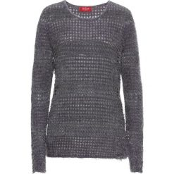 Sweter z lureksową nitką, długi rękaw bonprix szaro-srebrny. Szare swetry klasyczne damskie bonprix. Za 79,99 zł.