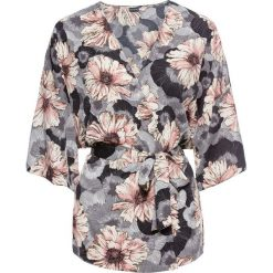 Bluzki damskie: Bluzka kimono z paskiem bonprix jasnoróżowo-szary w kwiaty