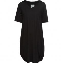 Sukienka shirtowa z kapturem bonprix czarny. Czarne sukienki z falbanami bonprix, z dekoltem w serek. Za 49,99 zł.
