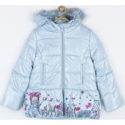 Kurtka. Niebieskie kurtki dziewczęce przeciwdeszczowe HEART SMILE, z aplikacjami, z polaru, długie. Za 189,90 zł.