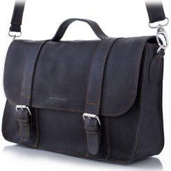 Oryginalna męska torba na ramię ze Skóry Czarna. Czarne torby na ramię męskie marki Brødrene, w paski, ze skóry. Za 479,00 zł.