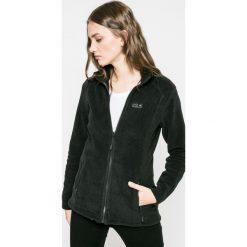 Jack Wolfskin - Bluza. Czarne bluzy z kieszeniami damskie marki Jack Wolfskin, w paski, z materiału. W wyprzedaży za 249,90 zł.