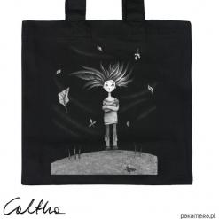 Wietrzna - torba premium. Czarne shopper bag damskie Pakamera, z materiału. Za 79,00 zł.