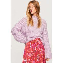 Sweter z domieszką wełny - Fioletowy. Fioletowe swetry klasyczne damskie Reserved, l, z wełny. Za 139,99 zł.